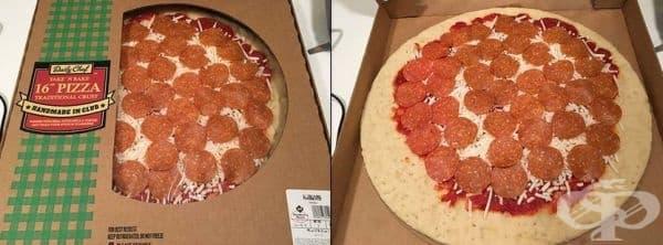 Пица със салами само във видимата част.