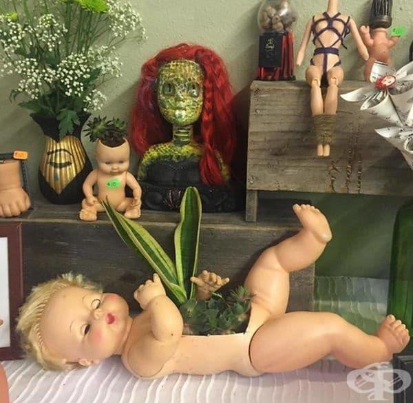 35 снимки на стари кукли, превърнати в саксии