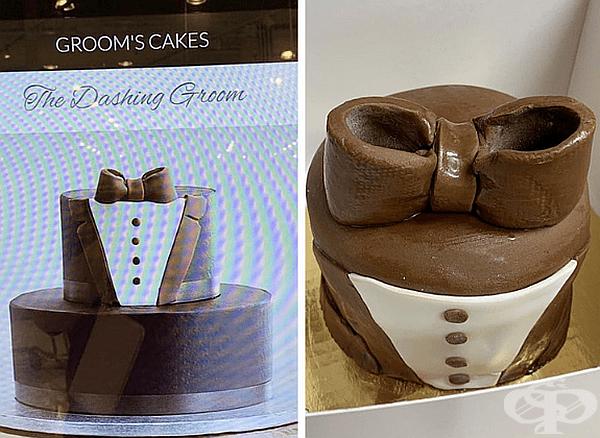 Елегантната торта вляво не изглежда толкова елегантно като тази отдясно.
