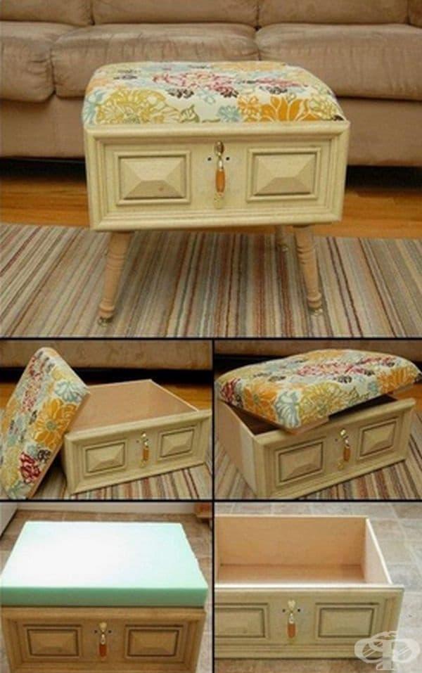 Старото чекмедже е преобразено в удобна табуретка.