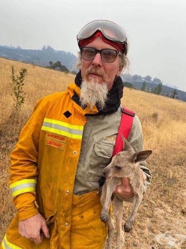 """""""Снимка на моя братовчед, който спаси това малко кенгуру и продължава да се бори с пожарите във Виктория."""", написа австралиец в социалните мрежи."""