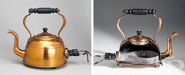Електрическа кана. Първите електрически чайници са създадени в края на XIX в. Полковник Роукс Кромптън монтира нагревателен елемент в стойката на метална кана. В такъв чайник водата се е загрявала дълго време и е изисквало огромно количество енергия.