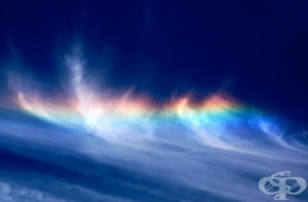 Циркохоризонтална дъга. Това е оптичен феномен, който се дължи на пречупването на слънчева или лунна светлина в хоризонтално ориентирани ледени кристали в облаците.