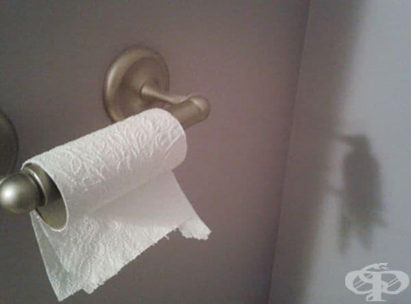 Сякаш птичка наднича в тоалетната.