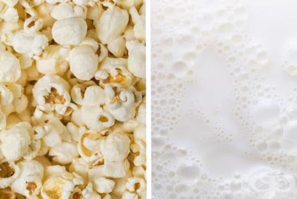 Пуканки и мляко. Мляко може да добавите, освен към зърнените храни и към пуканките. Опитайте.