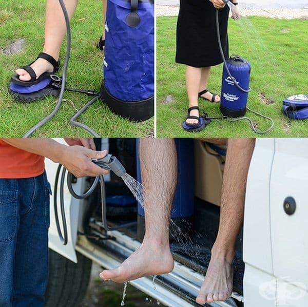 Надуваема чанта за душ, подходяща за къмпинг.