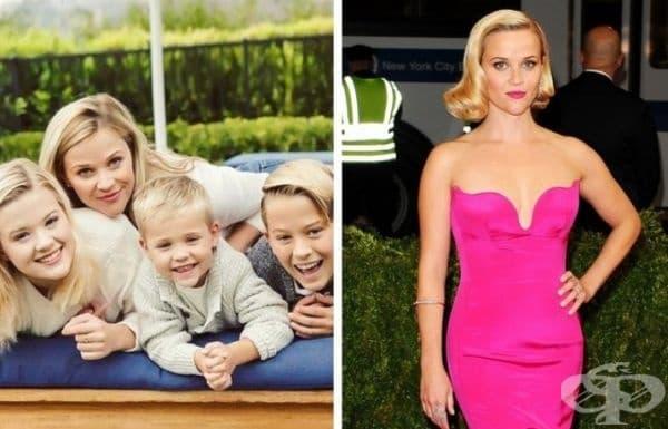 Рийз Уидърспун е друга звезда майка с 3 деца. Актрисата се смята за една от най-атлетичните звезди на Холивуд. Тя практикува редовно йога, пилатес и кардио.