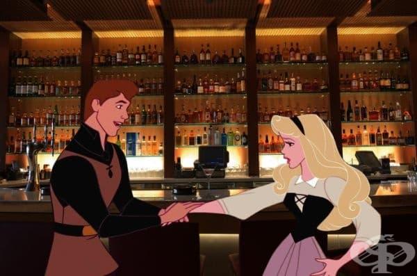 Филип омайва с приказки Аурора в бар.