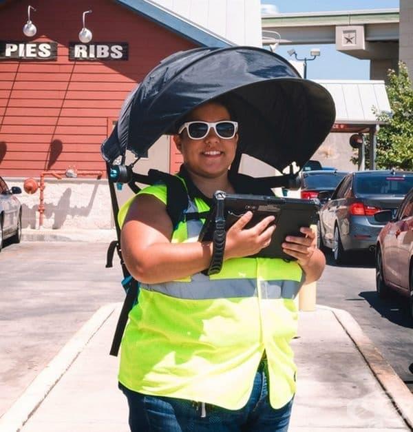 Чадър без дръжка, идеален за дъждовно и слънчево време.