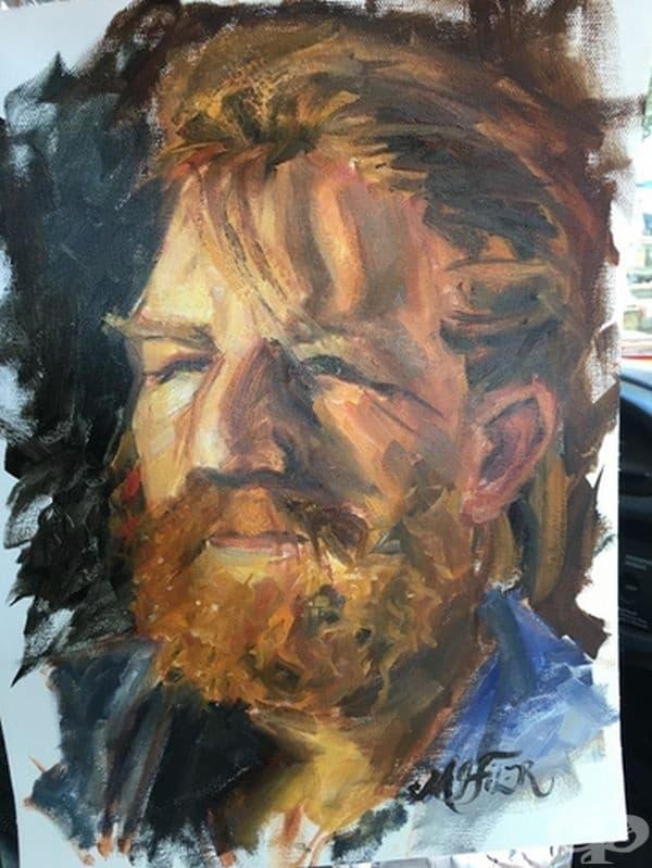 """""""Една жена спря баща ми на бензиностанция и попита дали може да го рисува. Той се съгласи. тя му направи снимка и записа адреса ни. След няколко дни ни донесе тази картина""""."""