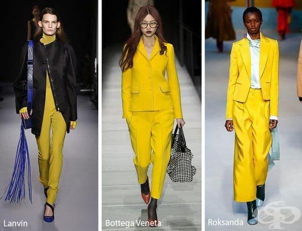 Ярко жълто. Цветът е част от колекциите на Roskanda, Preen Thornton Bregazzi и Marc Jacobs за предстоящия сезон.
