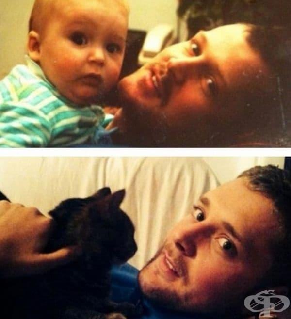 Баща и син през 1991 г. Синът и котката му през 2013 г. Намерете 10 разлики!