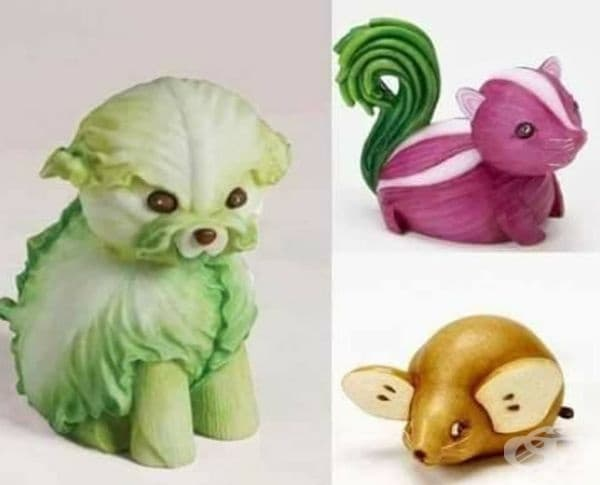 Интересни скулптури от плодове и зеленчуци