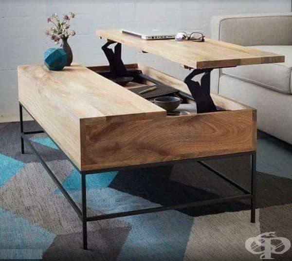 Изберете маса с място за съхранение или табуретки. Напоследък се предлагат все повече мебели, който имат допълнителни и скрити места за различни вещи.