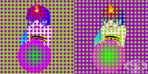 На лявата картина кожата на момиченцето изглежда розова, а на дясната - жълта. Всъщност те са еднакви и на двете картинки.