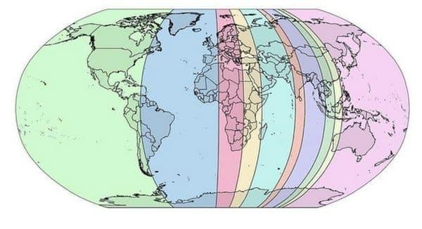 Карта, в която всеки участък има 10% от световното население.