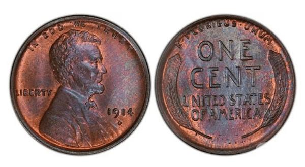 Цент с пшеница (1914-D). Цена: около 5 500 $. През 1914 г. в Денвър са сечени около1,2 млн монети и са били широко използвани, но много малко са оцелели. Още през 30-те години такава монета е много търсена. Днес има повече фалшификати,отколкото истински.