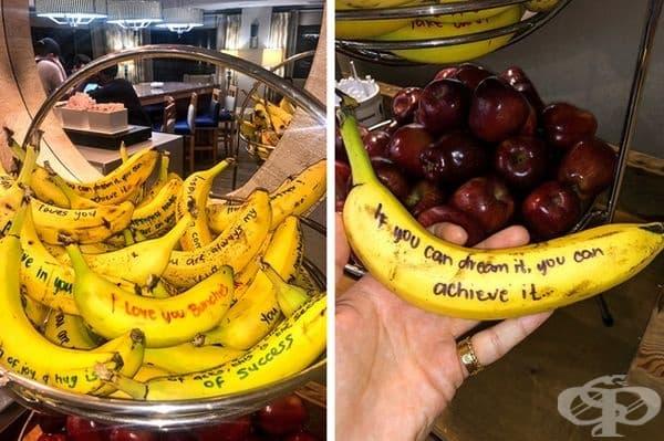 """""""В хотела ни имаше банани с цитати. Никога до сега не съм се чувствал толкова загрижен за плодовете."""""""