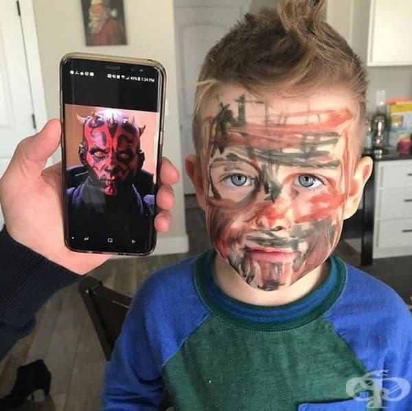 """""""Синът ми се нарисува с перманентен маркер, за да прилича на Дарт Моул."""""""
