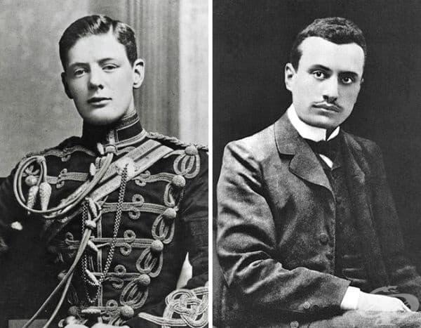 Млади опоненти: 24-годишният Уинстън Чърчил и 35-годишният Бенито Мусолини.