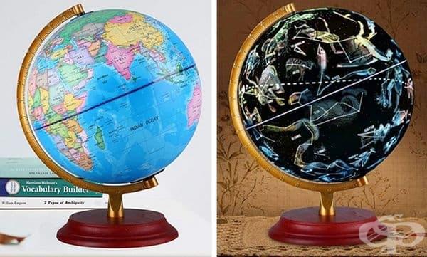 Глобус през деня и астрономически съзвездия през нощта.