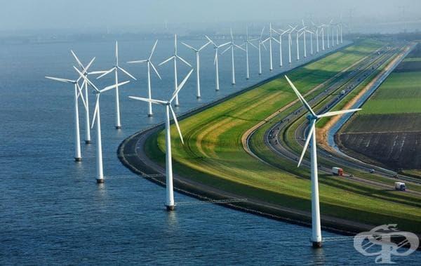 Модерни бентове, вятърни мелници и магистрали в Холандия.