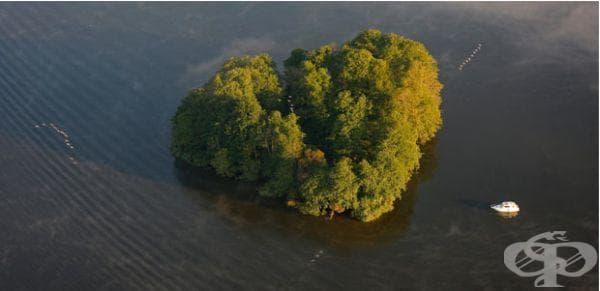 Остров с формата на сърце в езеро Клайне Мюриц, Германия