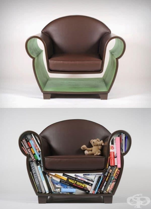"""""""Кух"""" стол - Забравете за библиотеката. С този стол вашите любими книги винаги са наблизо."""