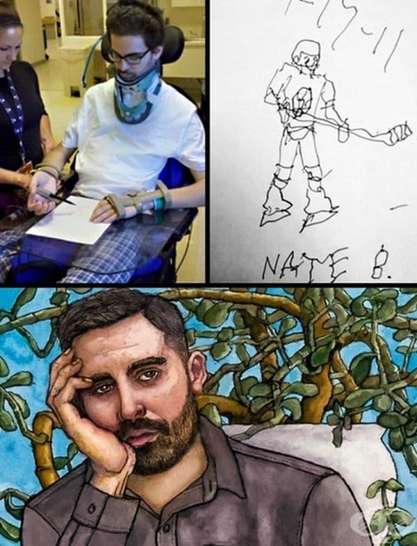 След травма момчето е започнало отначало да се учи да рисува. Това е неговия прогрес.