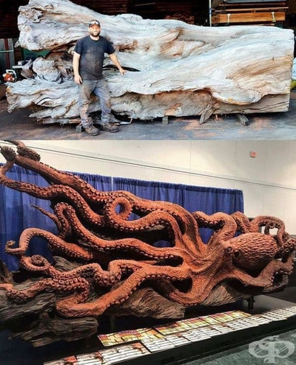 Дърворезба октопод.