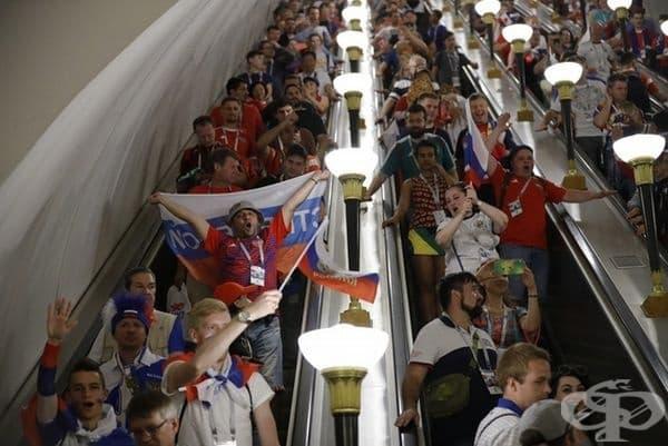 Московското метро след победата на Русия над Испания.