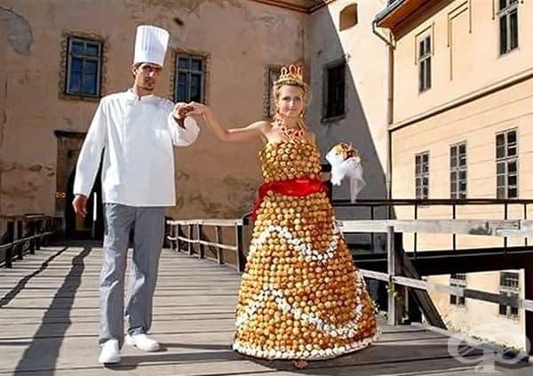 Сватбена рокля от слоеве сметана на Украинският сладкар Валентин Стефано.