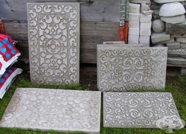 Пътека от красиви каменни блокове - лесно може да украсите плочите в различни шарки с помощта на гумени постелки.