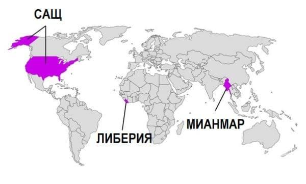 Страни, които не използват метричната система.