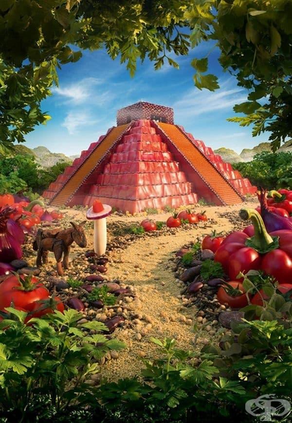 Пирамидите на маите - от месо.