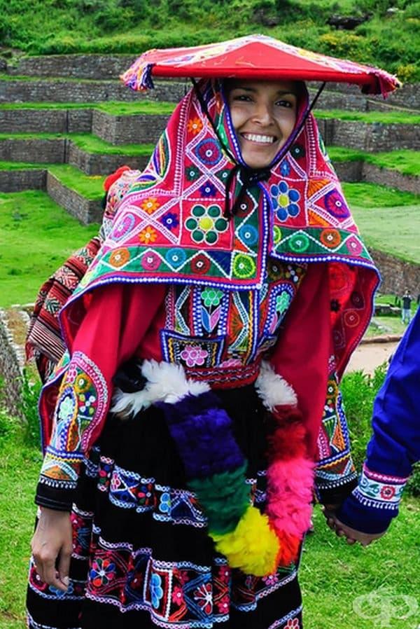 Перуанска булка от свещената долина близо до Куско