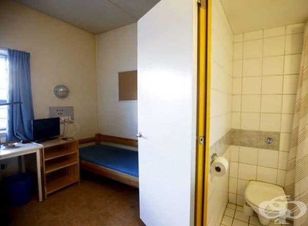 Затворът Скиен край Осло, Норвегия. Затворите в Норвегия имат за цел да наподобяват възможно най-много външни условия, за да подготвят затворниците да се върнат към обществото. Затворниците имат самостоятелен санитарен възел, телевизор,видео игри и фитнес