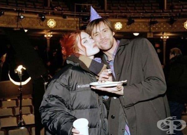 """Джим Кери и Кейт Уинслет зад кулисите по време на снимки за """"Eternal Sunshine of the Spotless Mind""""."""