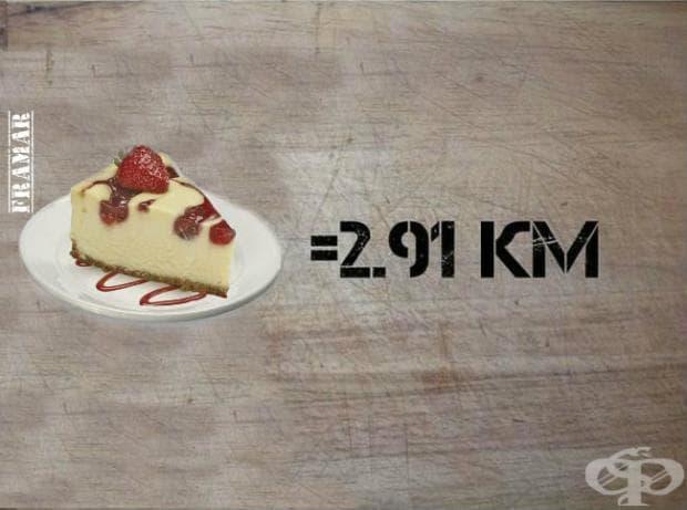 За пълното изгаряне на калориите от чийз кейк, вие трябва да пробягате 2,91 километра.