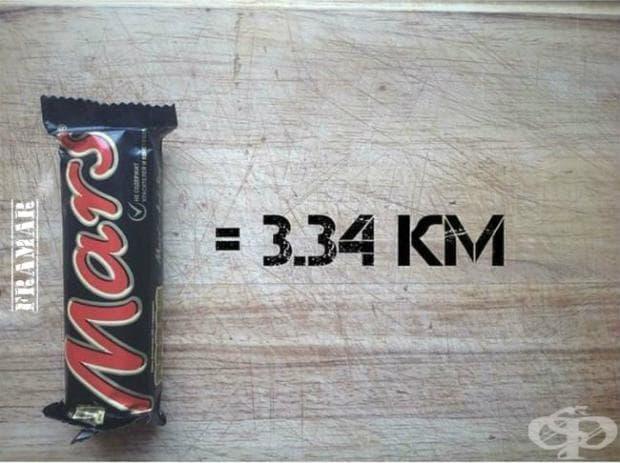 Шоколадов десерт Mars ви коства усилието да пробягате 3,34 километра.