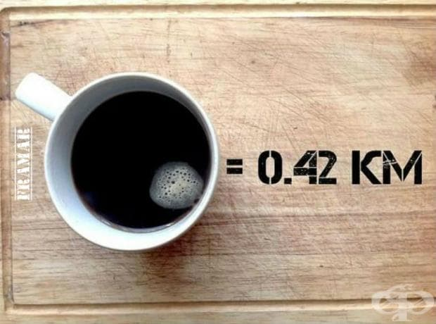 За да изгорите напълно енергията от чаша силно разтворимо кафе (2 супени лъжици), вие трябва да пробягате 420 метра.