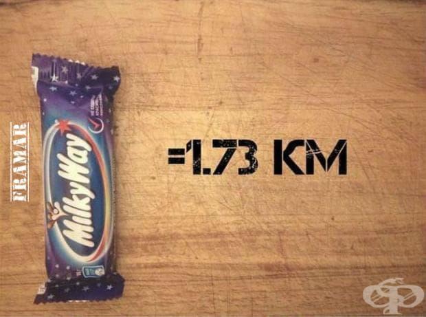За изгарянето на калориите от Milkyway, вие трябва да бягате 1,73 километра.