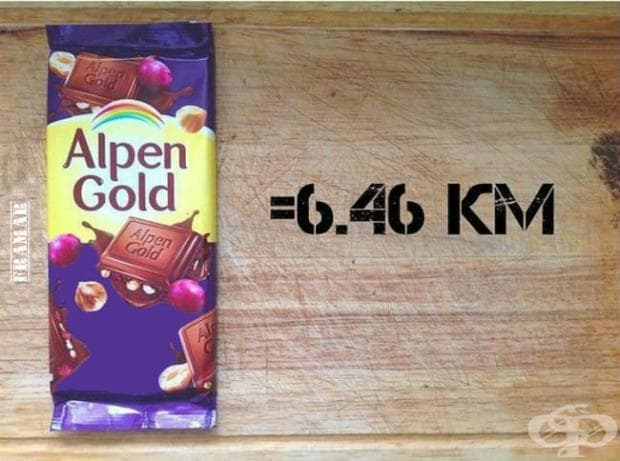 Млечен шоколад с лешници и стафиди ви дава енергия за пробягване на 6,46 километра.