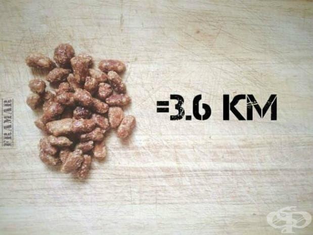 За да усвоите напълно калориите от захаросани фъстъци, вие трябва да пробягате 3,6 километра.