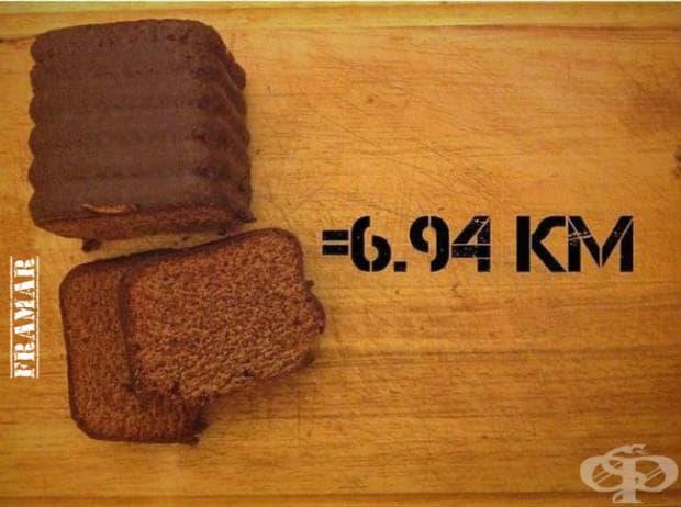 Едно от най-калоричните неща е шоколадовия кекс. Консумацията на 125 грама от него ще ви накара да пробягате 6,94 километра, за да изгорите калориите му.