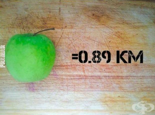 За пълното изгаряне на калориите на една средно голяма ябълка, вие трябва да бягате 890 метра.