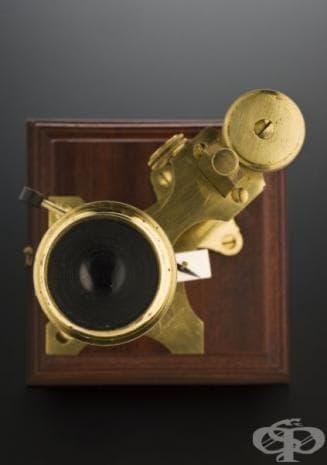 Този микроскоп е изработен от член на фамилията Доланд, които били известни създатели на оптични инструменти.