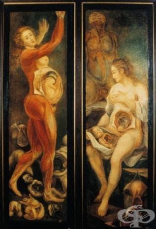 """Тази картина от 1773 носи името """"Anatomie des parties de la gеnеration de l'homme et de la femme"""". Тя е създадена от Жак Фабиен Гутие Даго."""