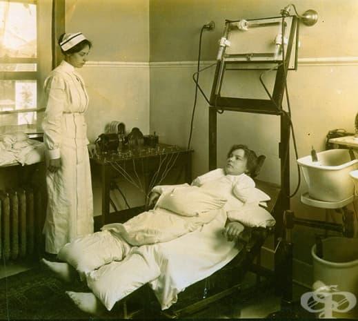 Този кабинет бил оборудван и с легло за електротерапия.