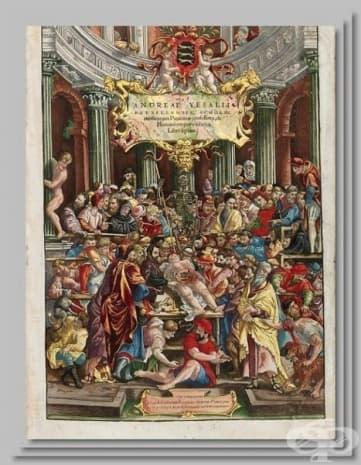 "Така изглежда корицата на труда на Андреас Вазалий - ""De humani corporis fabrica libri septem""."
